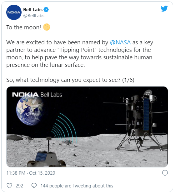 Nokia giành được hợp đồng xây dựng mạng 4G trên Mặt Trăng - Ảnh 1.