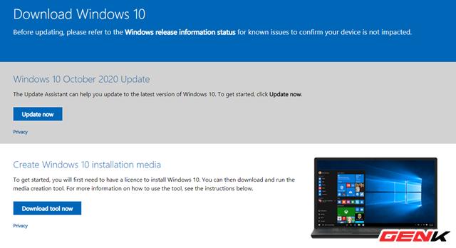 Cách tải và tạo bộ cài đặt Windows 10 October 2020 Update 20H2 bằng USB - Ảnh 2.