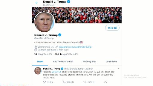 Twitter cấm đăng bài viết mong muốn Tổng thống Trump chết vì Covid-19 - Ảnh 1.