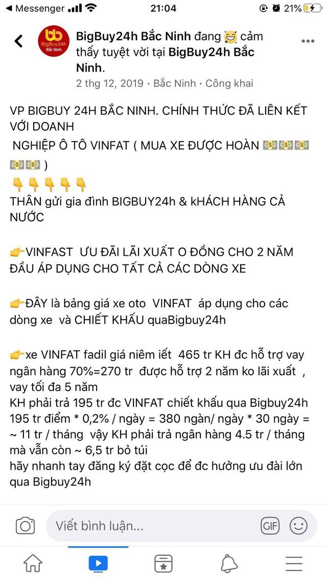 """Sàn TMĐT Bigbuy24h trước khi """"dính phốt"""": Tuyên bố liên kết với Vinfast để mua ô tô hoàn tiền, tặng ĐT bóng đá Việt Nam hàng trăm triệu đồng - Ảnh 2."""