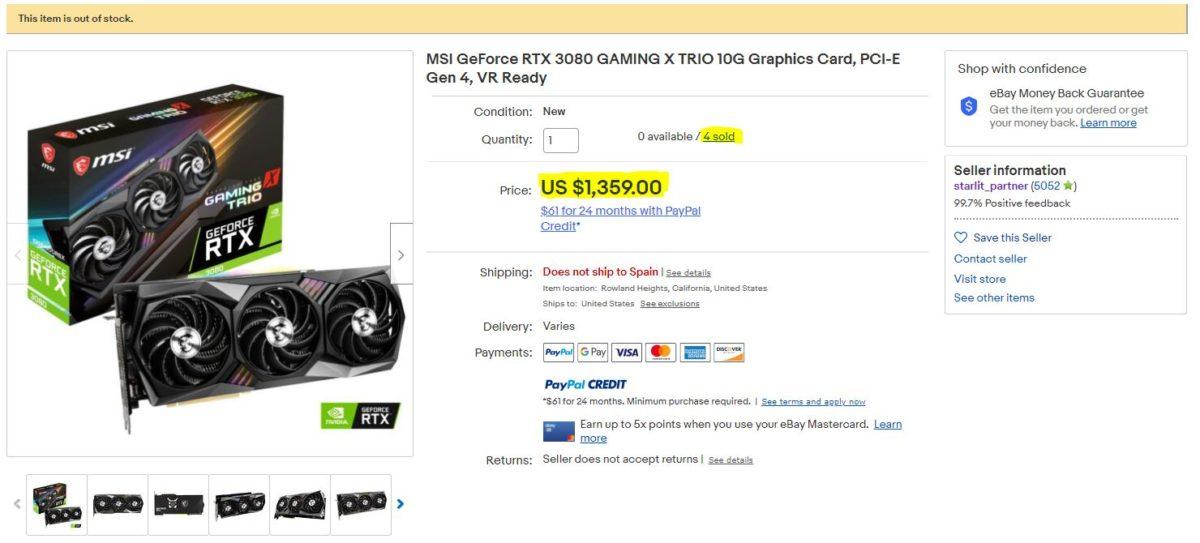Công ty con của MSI bị bắt quả tang bán GPU RTX 3080 giá cao trên eBay - Ảnh 1.