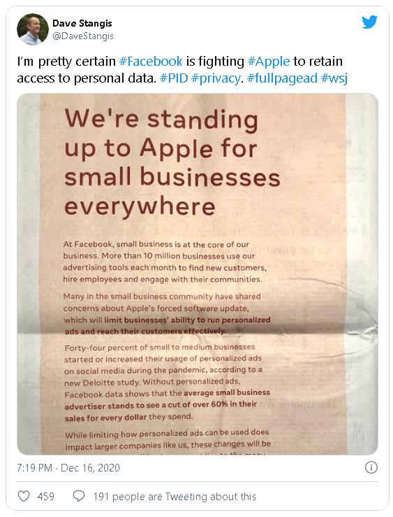 Facebook đăng quảng cáo toàn trang trên báo, để chỉ trích những thay đổi quyền riêng tư trên iOS 14 của Apple - Ảnh 2.
