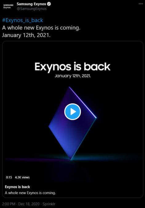 Samsung công bố sự kiện Exynos diễn ra vào ngày 12 tháng 1, ra mắt chip xử lý trang bị cho Galaxy S21 series - Ảnh 1.