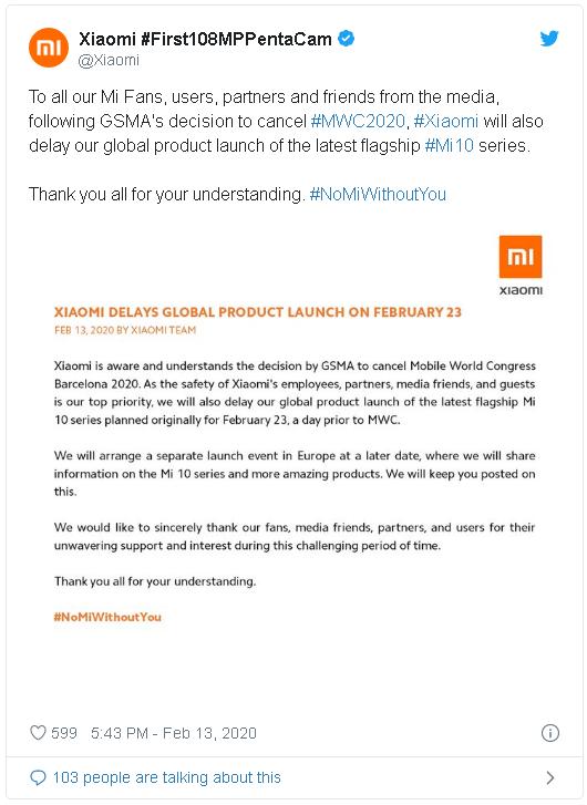 Xiaomi tuyên bố hoãn ngày ra mắt Mi 10 phiên bản quốc tế, sau khi MWC 2020 bị hủy bỏ - Ảnh 2.
