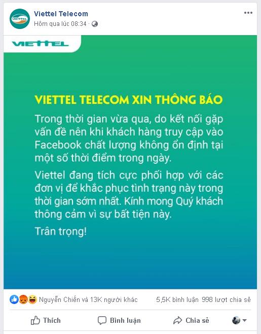 Viettel và VNPT đăng thông báo xin lỗi người dùng về việc truy cập Facebook không ổn định - Ảnh 1.