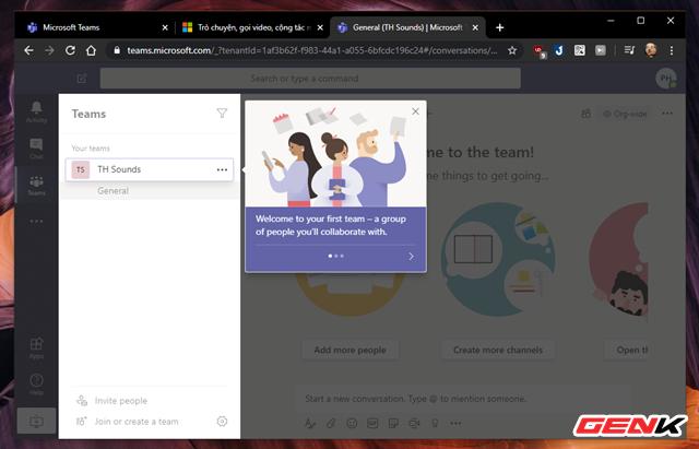 Giao diện Microsoft Teams được phân chia theo các tab nhìn rất dễ nắm bắt. Đầu tiên sẽ là phần Teams với danh sách các nhóm mà bạn tham gia hoặc khởi tạo.