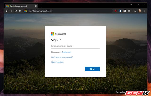 """Để bắt đầu sử dụng Microsoft Teams, bạn hãy truy cập vào trang web của dịch vụ tại """"teams.microsoft.com"""" http://teams.microsoft.com/. Sau đó sử dụng tài khoản Microsoft để đăng nhập vào dịch vụ."""