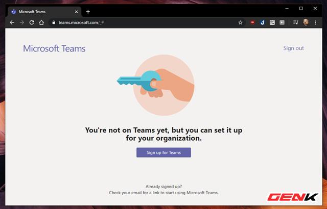 """Tiếp đến, hãy nhấn """"Sign Up For Teams"""" để tiến hành thiết lập cho nhóm làm việc của bạn."""