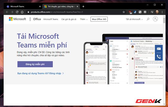 """Một trang web mới hiển thị để bạn lựa chọn. Tại đây nếu người dùng đã có nhóm làm việc thì nhấn """"Đăng nhập"""", còn chưa có nhóm thì tiến hành thành lập nhóm bằng cách nhấn """"Đăng ký miễn phí""""."""