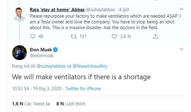 Elon Musk thay đổi hoàn toàn thái độ với Covid-19, khẳng định Tesla sẽ sản xuất máy thở nếu có sự thiếu hụt - Ảnh 2.