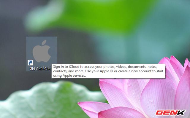 Khi đó, ngoài màn hình Desktop sẽ xuất hiện biểu tượng Apple Notes.