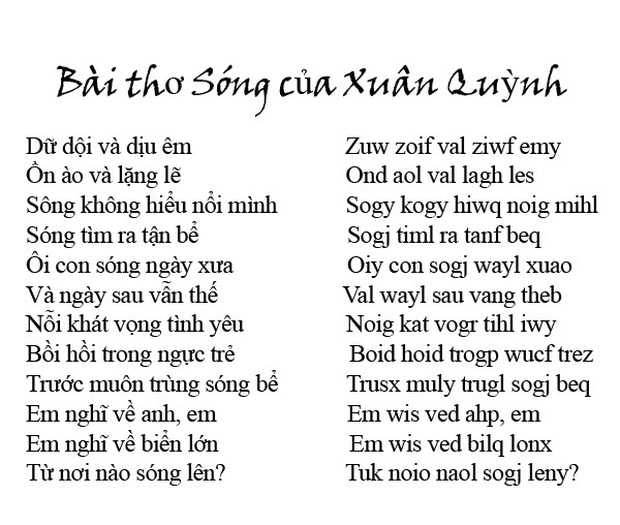 """Chi tiết """"Chữ Việt Nam song song 4.0"""" vừa được cấp bản quyền: Zuw zoif val ziwf emy, ond aol val lagh les - Ảnh 1."""