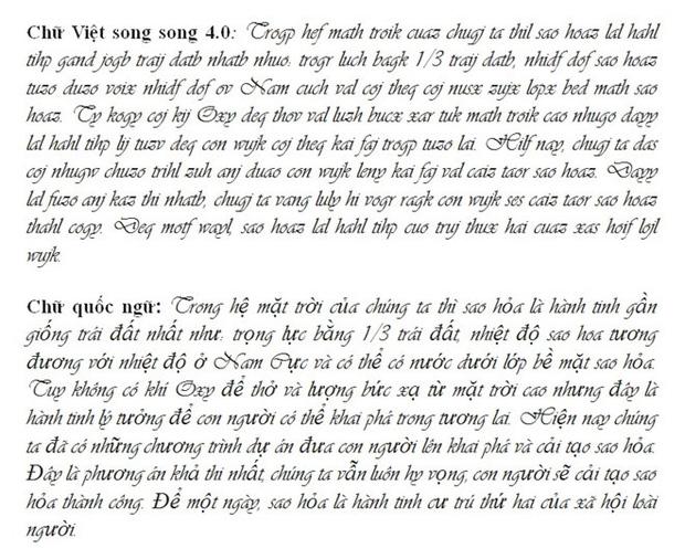"""Chi tiết """"Chữ Việt Nam song song 4.0"""" vừa được cấp bản quyền: Zuw zoif val ziwf emy, ond aol val lagh les - Ảnh 15."""