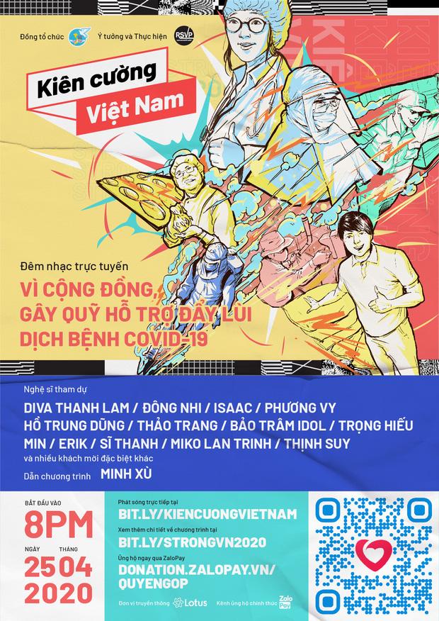 """""""Kiên cường Việt Nam-Stay strong Vietnam"""" - Đêm nhạc trực tuyến gây quỹ đẩy lùi đại dịch Covid-19 - Ảnh 1."""
