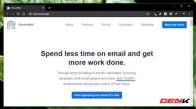 """Darwin Mail là dịch vụ mail trung gian miễn phí, cho phép người dùng liên kết và quản lý Gmail theo phong cách Google Inbox. Để bắt đầu bạn hãy truy cập vào trang chủ dịch vụ, sau đó nhấn """"Start organizing your Gmail (it's free)""""."""