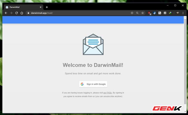 """Tiếp tục, hãy nhấn """"Sign in with Google"""" để tiến hành đăng nhập và cho phép Darwin Mail liên kết với tài khoản Google của bạn."""