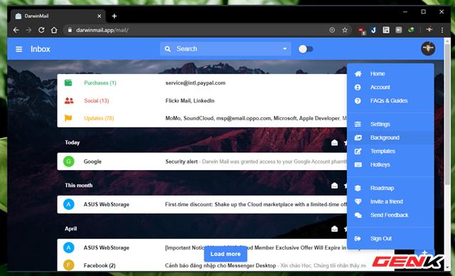 """Để thay đổi ảnh nền cho Darwin Mail, bạn hãy nhấn vào ảnh đại diện tài khoản và chọn """"Background""""."""