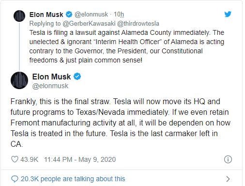 Elon Musk tức giận: Tesla sẽ ngay lập tức rời California sau khi hết dịch Covid-19 - Ảnh 1.