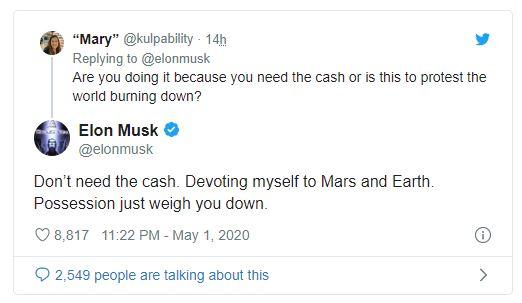 Elon Musk lại phá đảo Twitter: Tuyên bố giá cổ phiếu Tesla quá cao, đòi bán hết nhà cửa, bị bạn gái dỗi cũng phải kể cho thiên hạ biết - Ảnh 3.