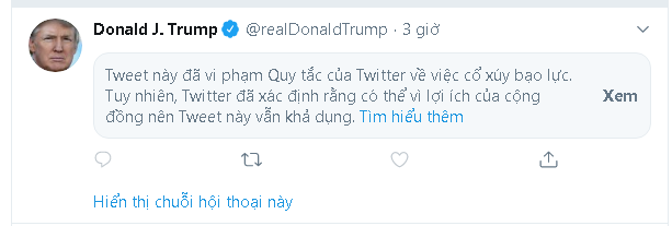 Tổng thống Trump đăng tweet mới, ngay lập tức bị Twitter ẩn đi vì lý do kích động bạo lực - Ảnh 2.