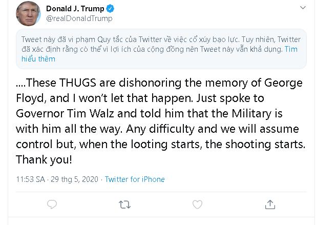Tổng thống Trump đăng tweet mới, ngay lập tức bị Twitter ẩn đi vì lý do kích động bạo lực - Ảnh 3.