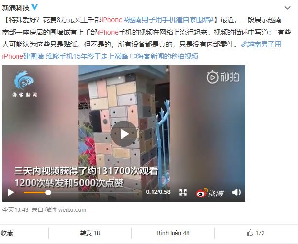 Cộng đồng mạng Trung Quốc thán phục độ chịu chơi của người Việt dùng vỏ iPhone lát tường - Ảnh 1.