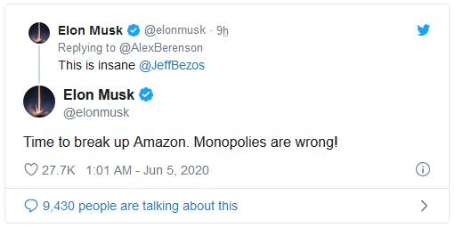 Vừa tuyên bố nghỉ chơi Twitter, Elon Musk đã đăng tweet chọc ngoáy ông chủ Amazon - Ảnh 2.