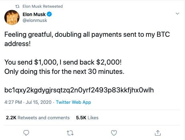 Twitter của Elon Musk, Bill Gates, Jeff Bezos cùng hàng loạt người nổi tiếng khác bị hack trong một vụ lừa đảo bitcoin lớn chưa từng thấy - Ảnh 1.