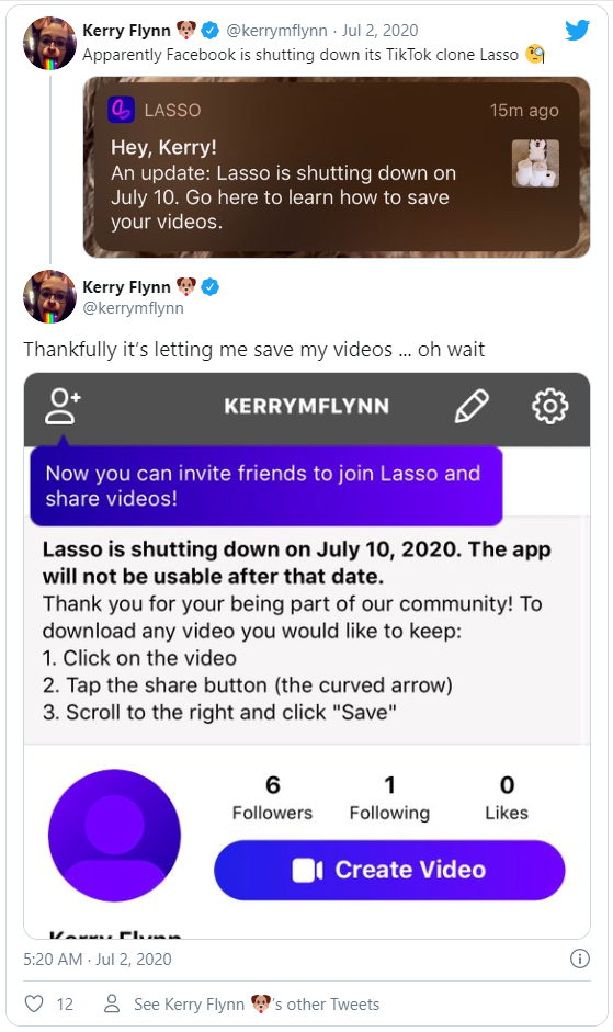 Lasso, ứng dụng nhái TikTok của Facebook, sắp đóng cửa - Ảnh 1.