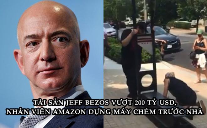 Tài sản Jeff Bezos vừa vượt 200 tỷ USD, nhiều nhân viên dựng máy chém biểu tình ngay trước cửa dinh thự - Ảnh 1.