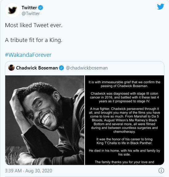 Cáo phó của Chadwick Boseman là bài tweet được Like nhiều nhất mọi thời đại trên Twitter - Ảnh 1.
