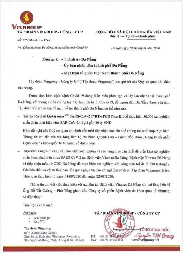 Sau 100 máy thở, Vingroup tiếp tục tài trợ hóa chất cho Đà Nẵng thực hiện 50.000 xét nghiệm trị giá 30 tỷ đồng - Ảnh 2.