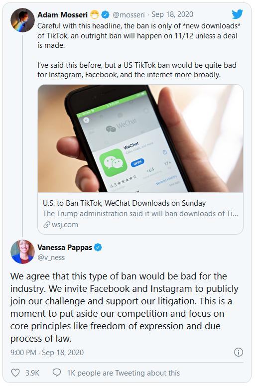 Bị dọa cấm cửa, TikTok rủ rê Facebook và Instagram cùng chống lại tổng thống Trump - Ảnh 1.
