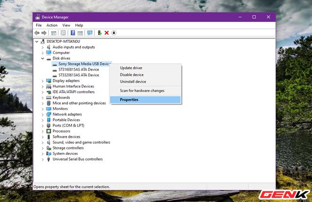 """Sau đó nhấn phải chuột vào ổ đĩa USB gắn ngoài, sau đó chọn """"Properties""""."""