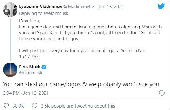 Gửi tin nhắn 154 lần để xin phép làm game về SpaceX và đây là câu trả lời của Elon Musk - Ảnh 1.
