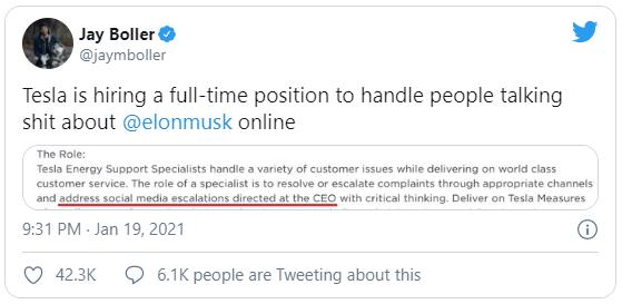 Sợ Elon Musk sa đà vào cãi nhau trên mạng, Tesla tuyển cả chuyên viên bảo vệ ông trên Twitter - Ảnh 2.