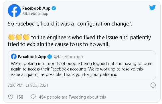 Facebook trả lời trước sự cố hàng loạt người dùng bị đăng xuất tài khoản - Ảnh 1.