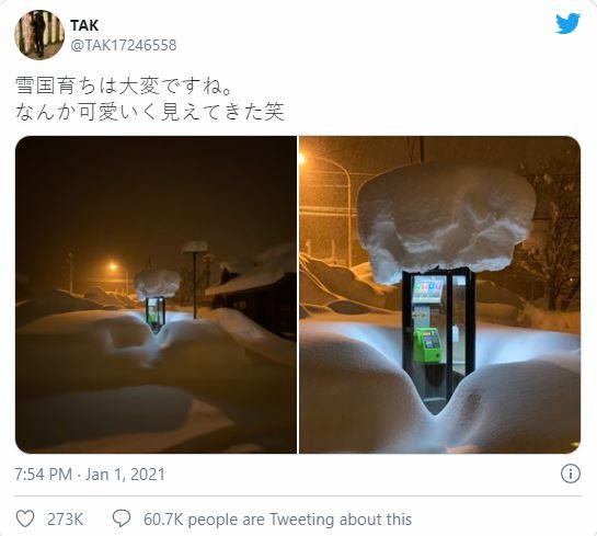 Bức ảnh bốt điện thoại công cộng giữa trời tuyết trắng gây xôn xao cộng đồng mạng Nhật Bản - Ảnh 1.