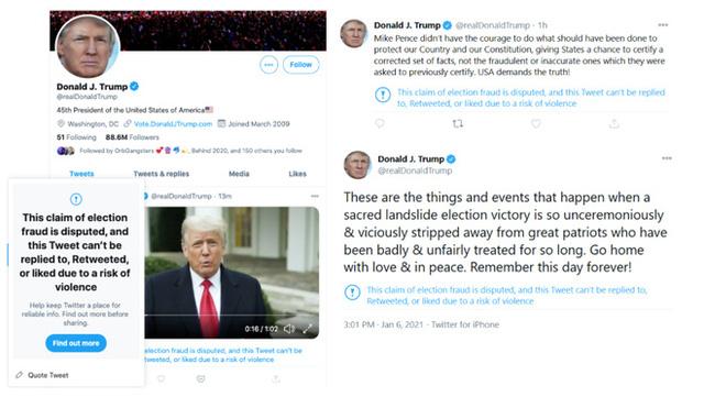 Thủ đô Mỹ bạo loạn chưa từng có, Twitter khóa tài khoản của ông Trump trong 12 giờ, dọa ngừng vĩnh viễn - Ảnh 3.