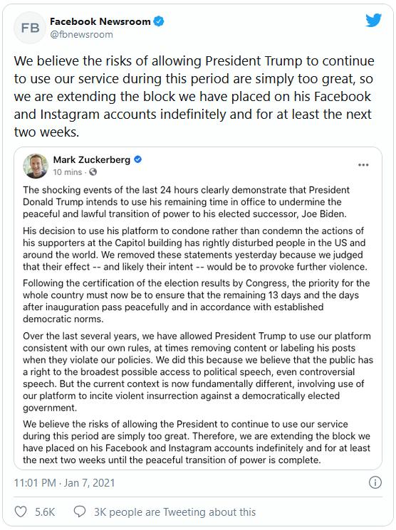 Facebook tuyên bố khóa vô thời hạn tài khoản của Tổng thống Donald Trump - Ảnh 1.