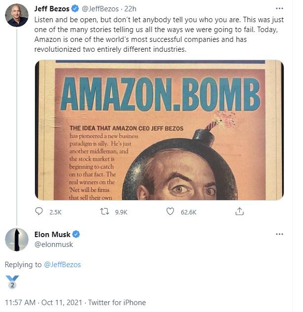 Elon Musk bình luận dạo trong bài đăng của Jeff Bezos, cà khịa ông chỉ là số 2 thôi, tôi mới giàu số 1 - Ảnh 2.