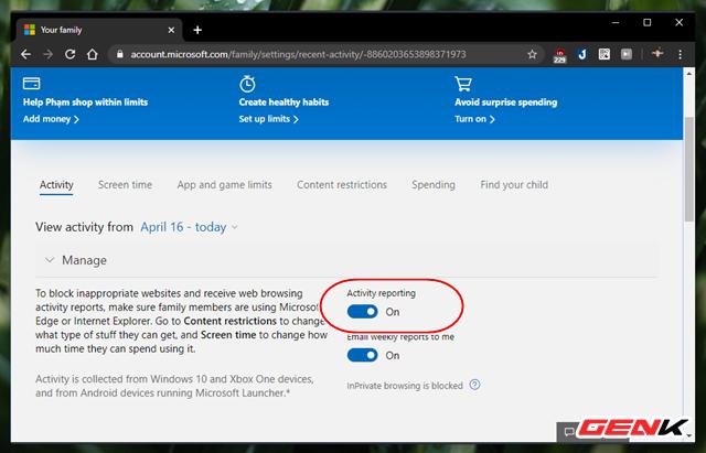 Kiểm soát việc sử dụng máy tính của trẻ nhỏ với tính năng có sẵn trên Windows 10 - Ảnh 8.