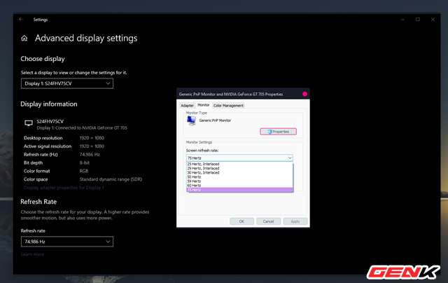 Cách thiết lập tần số quét tối đa của màn hình máy tính trên Windows 10 - Ảnh 8.