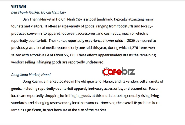 Cùng với Shopee và phimmoi, 2 chợ lớn của Việt Nam là Đồng Xuân và Bến Thành cũng bị Mỹ cáo buộc bán hàng giả quy mô lớn - Ảnh 1.