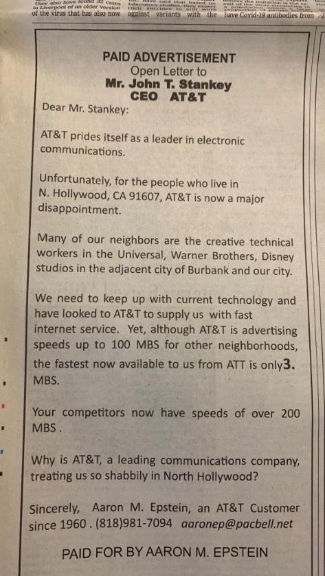 Mạng lag, cụ ông 90 tuổi đăng quảng cáo lên báo lớn để phàn nàn với CEO - Ảnh 1.