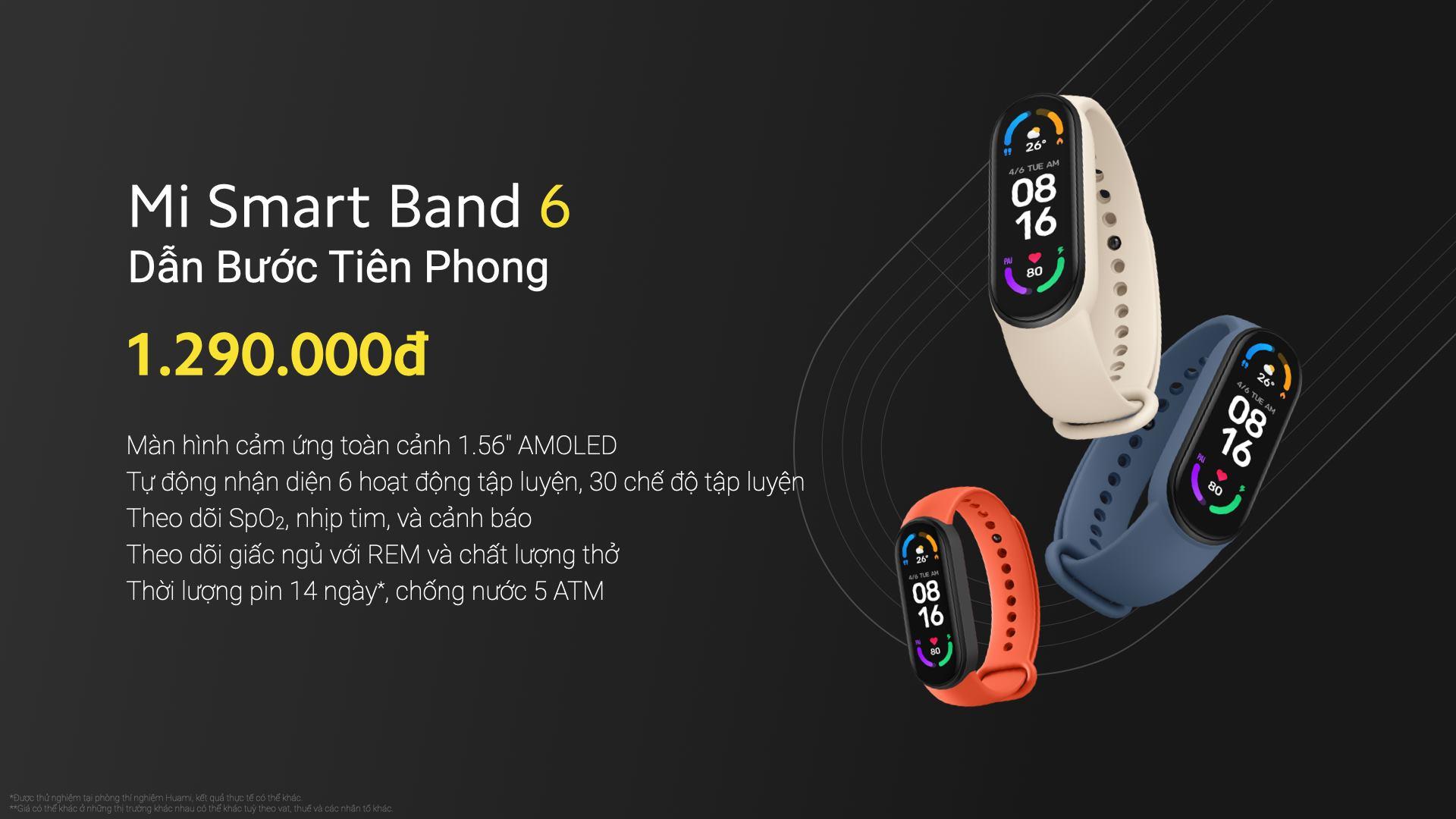 Xiaomi ra mắt Mi Band 6 tại VN: Màn hình màu AMOLED tràn viền, đo SpO2, pin 14 ngày, giá 1.29 triệu đồng - Ảnh 1.