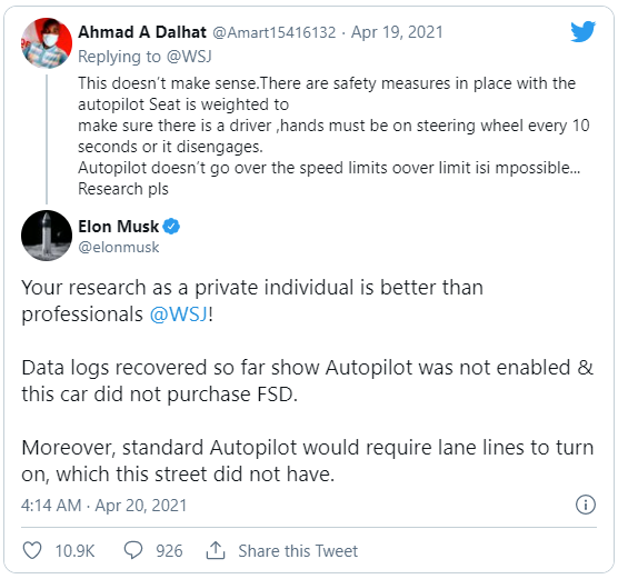 Vụ xe Tesla không người lái gặp nạn trở thành bí ẩn: Elon Musk khẳng định tính năng Autopilot không được bật - Ảnh 1.