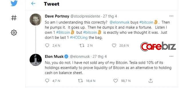 Bị tag hẳn tên vào bài đăng tố làm giá Bitcoin, âm thầm mua đáy, bán đỉnh, thao túng thị trường, Elon Musk đáp trả 1 câu hút gần 100.000 lượt thích - Ảnh 2.