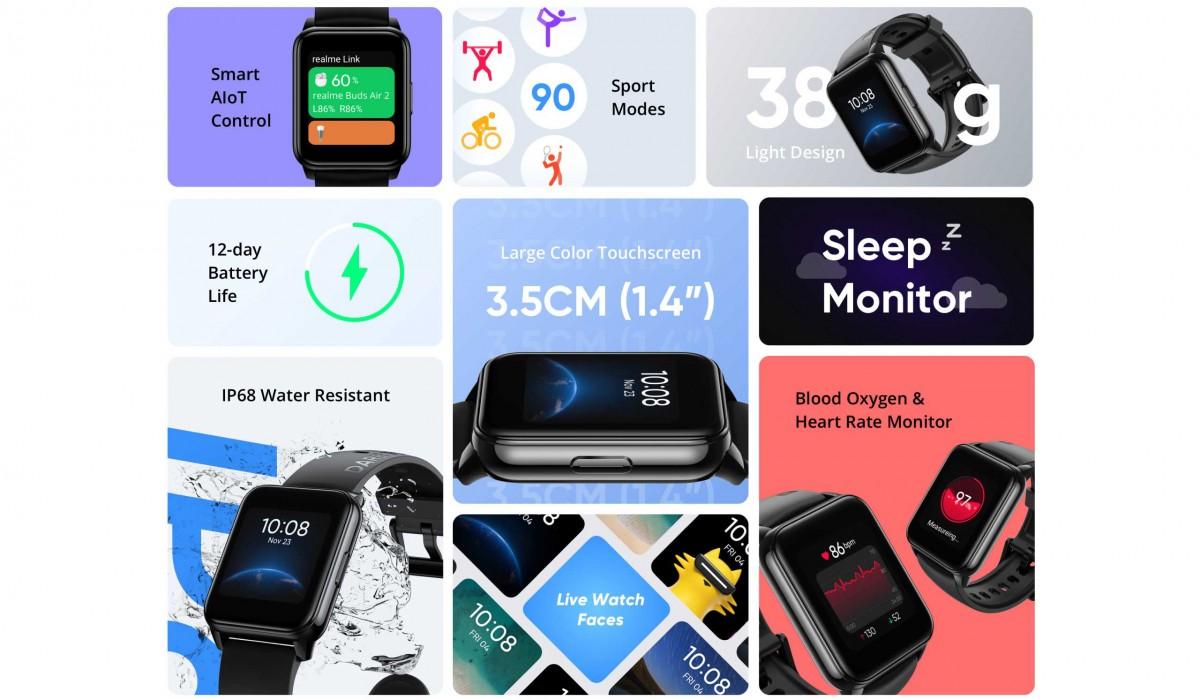 Realme Watch 2 ra mắt: Thiết kế giống Apple Watch, có đo SpO2, chống nước IP68, pin 12 ngày, giá 1.29 triệu đồng - Ảnh 2.