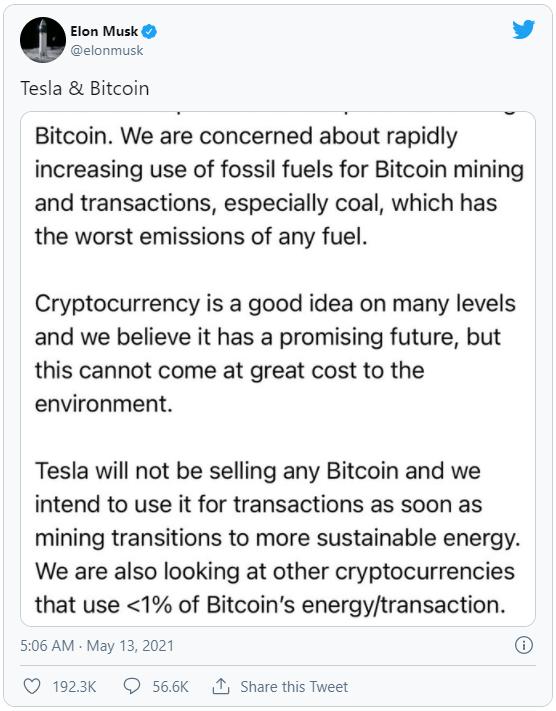 """""""Lươn"""" như Elon Musk: Mới tháng trước còn đồng ý Bitcoin giúp tăng cường sử dụng năng lượng sạch, giờ lại tuyên bố không chấp nhận Bitcoin để bảo vệ môi trường - Ảnh 3."""
